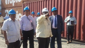 Minister of State Joseph Harmon, GNIC Chairman Clinton Williams and CDC Chairman Chubilall Ramsarup at the Wharf. [iNews Photo]