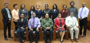 Prime Minister Moses Nagamootoo along with members of the State Boards and CEOs of NCN and Guyana Chronicle.