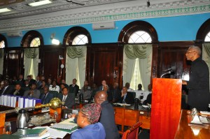 President David Granger during a recent address to the National Assembly