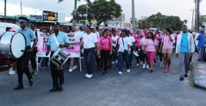 A section of the large number of persons who came out to support the breast cancer awareness walk.