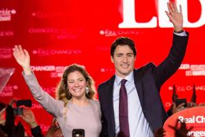 Justin Trudeau celebrates with his wife Sophie after winning the Canadian general elections.  [AFP/Getty Images]