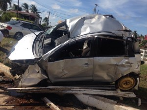 The mangled car following the accident. [iNews' Photo]