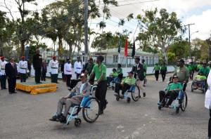 Guyana Veterans Legion Association at the corner of Main and New Market streets during the March-Past