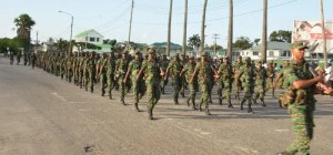 Guyana Defence Officers on the army's 50th anniversary route march.