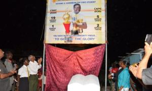 President David Granger and Hamilton,  unveiling a billboard in honour of her achievements, at the Ann's Grove Market tarmac.