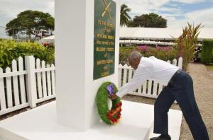 President Granger makes his way to the Veterans' Monument to lay a wreath as he paid tribute to the fallen heroes.