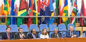 From left is Derek Lambe, Fernando Ponz, Rajiv Narayan, Dr Asunta Vivo Cavaller, Lord Navnit Dholakia and EU Ambassador Jernej Videtic. [Javin Singh Photo]