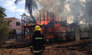 Firefighters work to extinguish the blaze. [iNews' Photo]