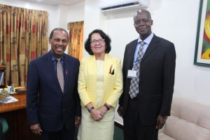 From left UN Special Envoy for HIV in the Caribbean Dr. Edward Greene, First Lady Mrs. Sandra Granger and UNAIDS Director to Guyana and Suriname, Dr. Martin Odiit following their meeting.