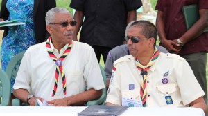 President David Granger shares a light moment with SAG President and Chief Scout , Ramsay Ali