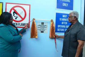 Registrar of PTCCB Ms Trecia and Minister of Agriculture Hon. Noel Holder officially commissions the Chemical Storage facility