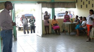 Minister of Public Infrastructure, Hon. David Patterson, addresses residents of Timehri North