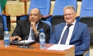 Minister of Governance, Raphael Trotman and EU Ambassador, Jernej Videtic. [Javin Singh Photo]