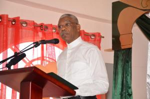 President David Granger speaking at the launch of the new Guyana Islamic Trust (GIT) Secretariat and the ISA Elementary School building on East Street.