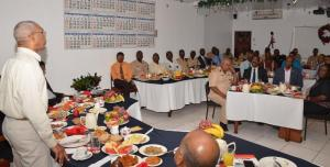 President David Granger congratulating the Guyana Police Force (GPF) on overcoming the challenges of 2015 at their Traditional Christmas Breakfast, this morning at Eve Leary