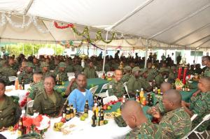 Soldiers at Base Camp Stephenson during their Christmas Lunch
