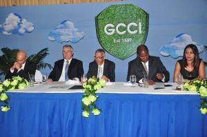 Head Table: Business Minister Dominic Gaskin, GCCI President Lance Hinds, Junior Vice President Padma Kunjebeharry and other members of the private sector