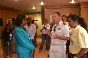 Minister of Tourism Cathy Hughes and the captain of the Minerva, Neil Broomhall and other tourism stakeholders
