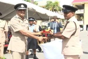 2015, Deputy Superintendent, Shivpersaud Bacchus (right) and Police Commissioner, Seelall Persaud. [Nickhail Jaundoo Photo]
