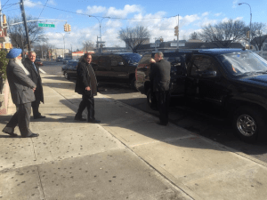 PM Moses Nagamootoo escorted by several black Secret Service vehicles during his New York trip over the weekend