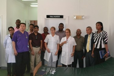 Minister of Health, Dr George Norton and other officials at the Leonora Cottage Hospital