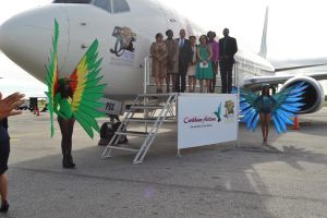 Caribbean Airlines aircraft CAL 737/800 branded with Guyana's 50th anniversary logo arrived at the CJIA today