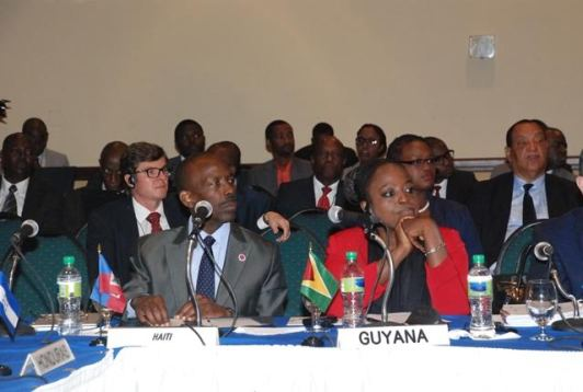 A section of the Guyana delegation at the 21st Ordinary Meeting of the Ministerial Council for the Association of the Caribbean States in Petion-Ville, Haiti