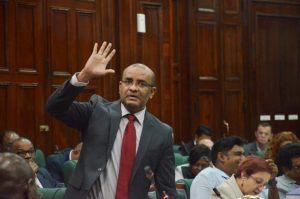 Opposition Leader Bharrat Jagdeo addressing the National Assembly yesterday
