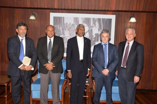 From L-R- REPSOL's Country Manager, Mr. Giancarlo Ariza, Minister of Natural Resources, Mr. Raphael Trotman; President David Granger, REPSOL's Latin America Exploration Director, Mr. Mikel Erquiaga and Exploration Manager of the Atlantic Basins, Mr. Allan Kean, at the Ministry of the Presidency this morning.