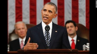 U.S. President Barack Obama delivers his final State of the Union addressbefore a joint session of  Congress on Capitol Hill, Washington on Tuesday night (CNN photo)