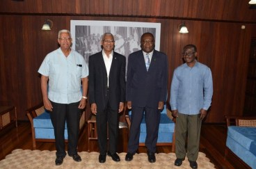 President David Granger is flanked by, from left, Minister of Agriculture Mr. Noel Holder, Executive Director of CARDI  Mr. Barton Clarke, and Technical Services Manager Mr. Francis Asiedu, at the Ministry of the Presidency today