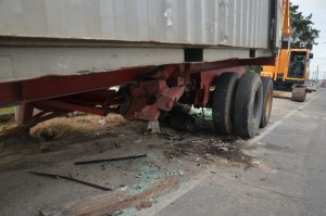 The container truck that the car slammed into