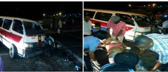 The accident scene last evening at Providence, EBD.