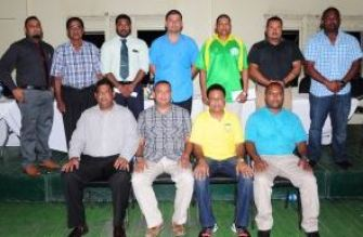 ECC president Rajesh Singh (seated second left) with members of the new executive