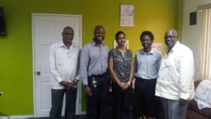 (From L-R) Deputy Chief Election Officer- Mr. Vishnu Persaud, Executive Director of Youth Challenge Guyana, Mr. Dmitri Nicholson, President of Guyana National Youth Council- Ms. Tricia Teekah, Executive Member of Guyana National Youth Council- Mr. Francis Bailey, Chief Election Officer- Mr. Keith Lowenfield