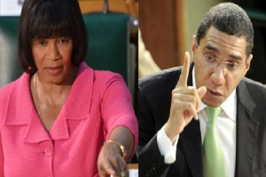 Prime Minister Portia Simpson Miller (left) and political leader of the Jamaica Labour Party, Andrew Holness, are accusing each other of making defamatory statements. (Caribbean360.com photo)