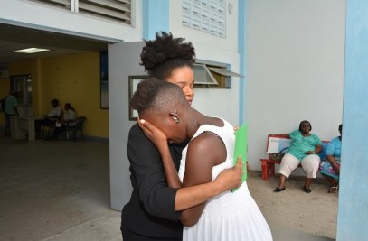 Cidel Hector was overcome with emotion upon receiving the support of $100,000, which was presented to her on behalf of President David Granger at the Georgetown Public Hospital, yesterday afternoon