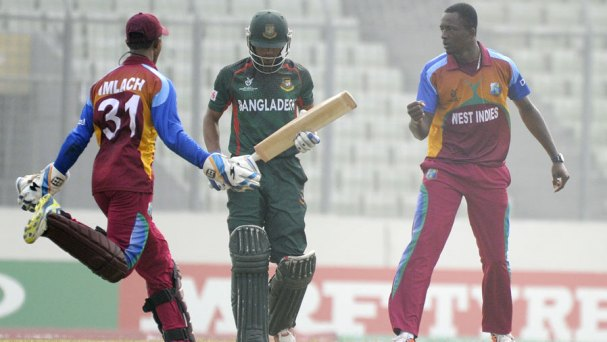 Ryan John exults after a wicket, Bangladesh Under-19s v West Indies Under-19s, Under-19 World Cup, semi-final, Dhaka, February 11, 2016 ©Getty Images