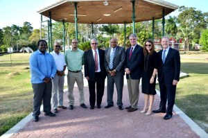 ExonMobil officials and Minister of Natural Resources and the Environment at the event today at the Botanical Gardens in Georgetown