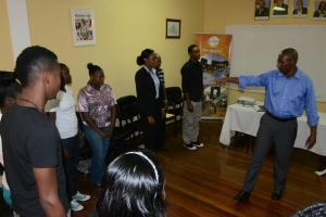 Paul Waldron during the training session for tour guides at the Ministry of Education, Department of Culture Youth and Sport