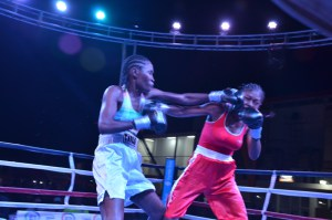 Some of the action during a women's bout