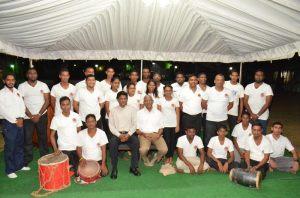 President David Granger with members of the Hindu Swayamsevak Sangha