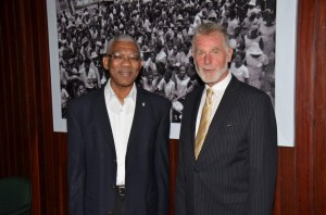 President David Granger and Germany's Ambassador to Guyana, His Excellency Lutz Hermann Gorgens before their meeting, at the Ministry of the Presidency