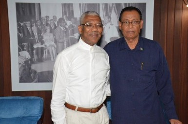 President David Granger with Guyana's Ambassador to Cuba, Mr. Halim Majeed after their meeting at the Ministry of the Presidency