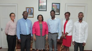 Social Protection Minister Volda Lawrence (3rd from left) flanked by Social Protection Ministry adviser and Member of Parliament John Adams (2nd left); SASOD Managing Director Joel Simpson (3rd right); Advocacy and Communications Officer Schemel Patrick; SASOD Board Secretary Alana Da Silva and Social Change Coordinator Jairo Rodrigues at the meeting.