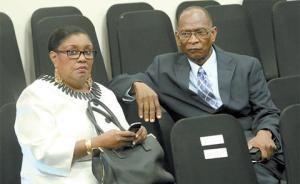 Housing Minister Marlene McDonald and husband Michael Carew in the Parliament chamber after the swearing in ceremony of the new Government at International Waterfront Complex, Wrightson Road, Port-of-Spain.