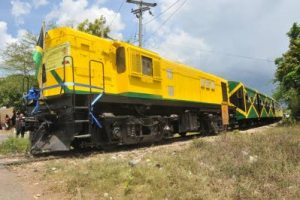 A reconditioned passenger train embarks on the journey from May Pen to Linstead on April 16, 2011. (Jamaica Observer photo)