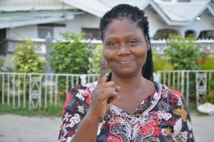This voter shows her inked finger