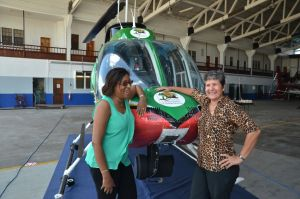 Minister of Tourism, Cathy Hughes and General Manager of Air Services Limited, Annette Arjoon-Martins