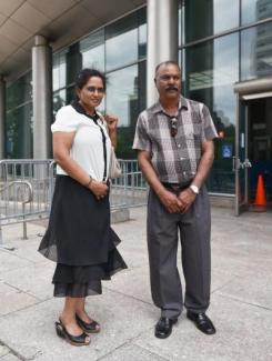 Ali Mazuras and his wife at the steps of Queens Criminal Court. Ali and his wife are the parents of Diane Sharma, who was stabbed to death by Oscar Novakovsky in 2012.David Wexler/For New York Daily News